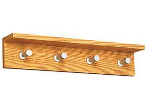 Safco 4221MO Wood Wall Rack, 4 Hook, Medium Oak
