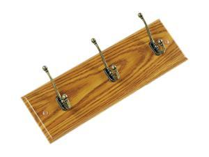 Safco Wall Rack, Three Double-Hooks, Wood, Medium Oak