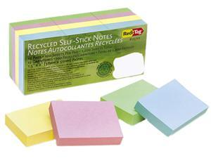 Redi-Tag 25701 100% Recycled Notes, 1 1/2 x 2, Four Pastel Colors, 12 100-Sheet Pads/Pack