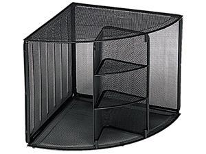 Rolodex 62630 Mesh Corner Desktop Shelf, Five Sections, 20 x 14 x 13, Black