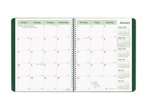 Rediform CB435WGRN EcoLogix Recycled Monthly Planner, Wirebound, 11 x 8-1/2, Green Soft Cover