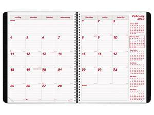 "Rediform CB1200N-BLK PlannerPlus Monthly Planner, Monthly - 7.13"" x 8.88"" - 1.2 Year - December 2015 till January 2017 1 Month Double Page Layout - Black"