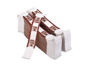 PM Company 55033 Color-Coded Kraft Currency Straps, $50 Bill, $5000, Self-Adhesive, 1000/Pack