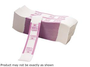 PM Company 55032 Color-Coded Kraft Currency Straps, $20 Bill, $2000, Self-Adhesive, 1000/Pack