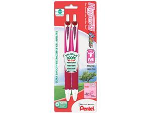 Pentel KL257BP2P-BC HyperG Roller Ball Retractable Gel Pen, Pink Ink, Medium, 2 per Pack