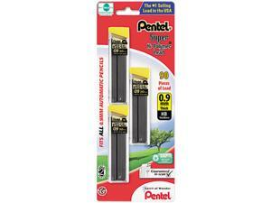 Pentel C29BPHB3 Super Hi-Polymer Lead Refills, 0.9mm, HB, Black, 3 Tubes of 30, 90/Pack