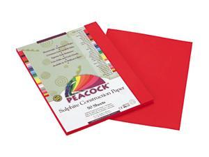 Pacon P9909 Peacock Sulphite Construction Paper, 76 lbs, 9 x 12, Holiday Red, 50 Sheets/Pack