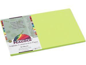 Pacon P9612 Peacock Sulphite Construction Paper, 76 lbs., 12 x 18, Hot Lime, 50 Sheets/Pack