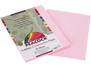 Pacon P7009 Peacock Sulphite Construction Paper, 76 lbs., 9 x 12, Pink, 50 Sheets/Pack