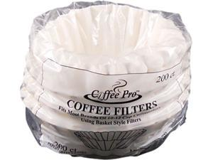 Coffee Pro CPF200 Basket Filters for Drip Coffeemakers, 10 to 12 Cups, White, 200 Filters/Pack