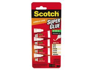 Scotch Single Use Super Glue, 1/2 Gram Tube, No-Run Gel, 4/PK