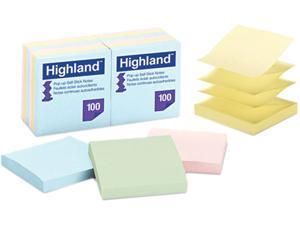 Post-it                                  Pop Up Memo Pad, 3 x 3, Assorted Pastel, 100 Sheets