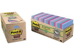 Post-it Notes Super Sticky 654-24SST-CP Super Sticky Pads Cabinet Pack, 3 x 3, 5 Tropic Breeze Colors, 24 70-Sheet Pads