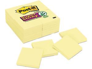 Post-it Notes Super Sticky 654-24SSCY Super Sticky Notes, 90 3 x 3 Sheets, 24 Pads/Pack