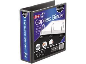 """find It FT07073 Gapless Loop Ring View Binder, 11 x 8-1/2, 3"""" Capacity, Black"""
