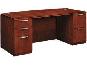 Arrive Bow Front Double Pedestal Veneer Desk, Henna Cherry, 72w x 36d x 29-1/2h