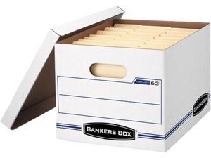 Bankers Box 0006301 EasyLift Storage Box, Letter/Letter, Lift-Off Lid, White/Blue, 12/Carton