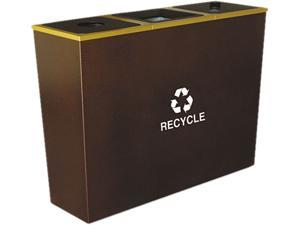 Ex-Cell RC-MTR-3HCP Metro Collection Recycling Receptacle, Triple Stream, Steel, 54 gal, Brown
