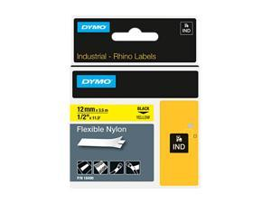 "DYMO 18490 Rhino Flexible Nylon Industrial Label Tape Cassette, 1/2"" x 11-1/2ft, Yellow"