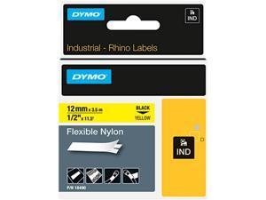 "DYMO 18490 Rhino Flexible Nylon Industrial Label Tape Cassette, 1/2"" x 11-1/2ft, Yellow"