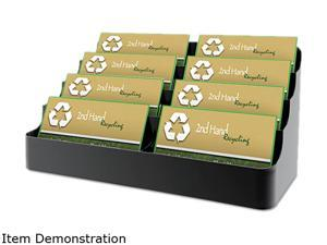 deflect-o                                Recycled Business Card Holder, Holds 450 2 x 3 1/2 Cards, Eight-Pocket, Black
