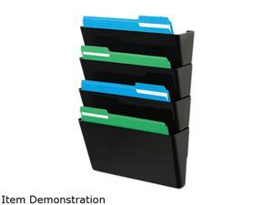Deflect-o 73404 DocuPocket Four-Pocket Wall Set, Plastic, Letter, 13 x 4 x 7, Black
