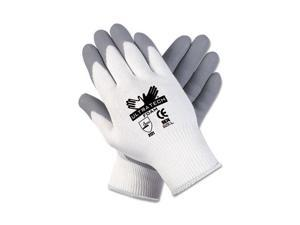 Memphis 9674S Ultra Tech Foam Seamless Nylon Knit Gloves, Small, White/Gray
