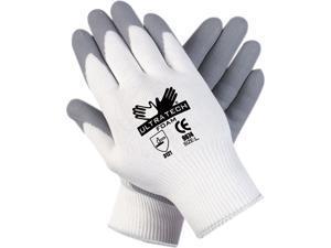 Memphis 9674S Ultra Tech Foam Seamless Nylon Knit Gloves, Small, White/Gray