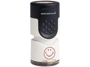 "ACCUSTAMP 030725 Accustamp Pre-Inked Round Stamp with Microban, Smiley, 5/8"" dia., Red"