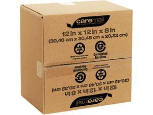 Caremail 1143556 100% Recycled Mailing Storage Box, Letter, Brown, 12/Pack