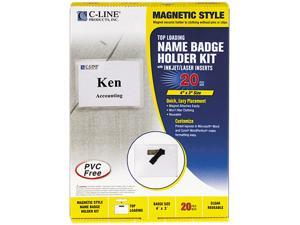 C-line 92943 Magnetic Name Badge Holder Kit, Horizontal, 4w x 3h, Clear, 20/Box