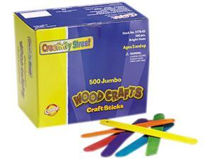 Chenille Kraft 3776-02 Colored Wood Craft Sticks, Jumbo, 4 1/2 x 3/8, Wood, Assorted, 500/Box