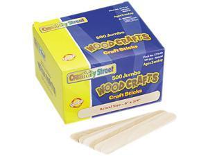 Chenille Kraft 3776-01 Natural Wood Craft Sticks, Jumbo Size, 6 x 3/4, Wood, Natural Wood, 500/Box