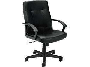 basyx VL602SB11 VL602 Managerial Mid-Back Chair, Black Leather