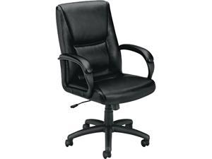 basyx VL161SB11 VL161 Executive Mid-Back Chair, Black Leather