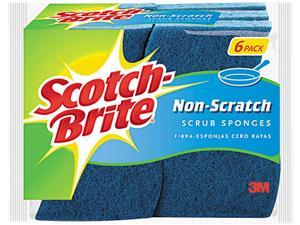 "Scotch-Brite 526 No Scratch Multi-Purpose Scrub Sponge, 4 2/5 x 2 3/5"", Blue, 6/Pack"