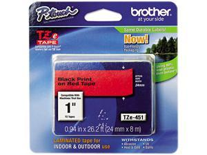 Brother TZE451 TZe Standard Adhesive Laminated Labeling Tape, 1w, Black on Red