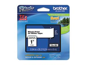 brother TZE251 TZe Standard Adhesive Laminated Labeling Tape, 1w, Black on White