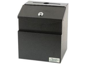 Vertiflex 50085 Steel Suggestion Box with Locking Top, 7 x 6 x 8-1/2, Black