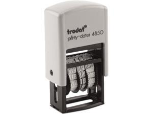 Trodat E4850L Trodat Econ Micro 5-in-1 Message Stamp, Dater, Self-Inking, 1 x 3/4, Blue/Red