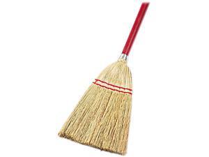 "UNISAN 951T Lobby/Toy Broom, Corn Fiber Bristles, 39"" Wood Handle, Red/Yellow"