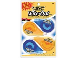 "BIC WOTAPP418 Wite-Out EZ Correct Correction Tape, Non-Refillable, 1/6"" x 400"", 4/Pack"