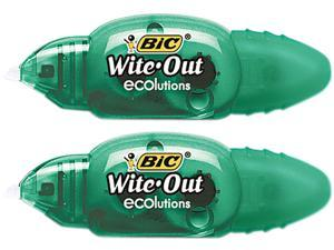 "BIC WOETP21 Wite-Out Ecolutions Mini Correction Tape, White, 1/5"" x 235"", 2/Pack"