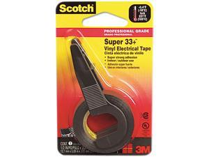 "Scotch 194NA Super 33+ Electrical Tape w/Dispenser, 1/2"" x 200"" Roll, Black"