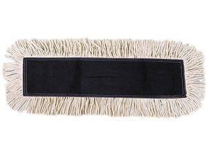UNISAN 1636 Disposable Dust Mop Head w/Sewn Center Fringe, Cotton/Synthetic, 36w x 5d, White