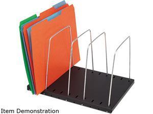 STEELMASTER by MMF Industries 264404 Wire Desktop Organizer, Four Sections, 9 11/16 x 8 1/6 x 7 11/16, Black/Silver