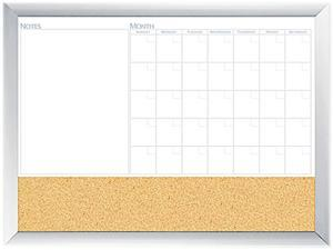 The Board Dudes 17001BDUA Magnetic Dry Erase 3-N-1 Board, Cork Area, 36 x 24, White with Silver Frame