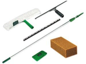 Unger PWK00 Pro Window Cleaning Kit w/8-ft. Pole, Scrubber, Squeegee, Scraper, Sponge