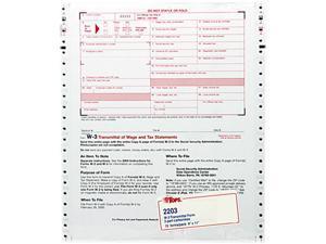 Tops 2203 W-3 Tax Form, Lttr, 2-Part Carbonless, 10 Continuous Forms