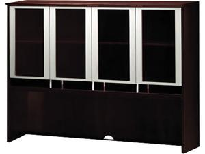 Mayline Napoli Series Assmbld Hutch with Glass Doors, 72w x 15d x 50½h, Mahogany